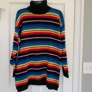 VTG Colorful Striped Turtleneck Oversized Sweater